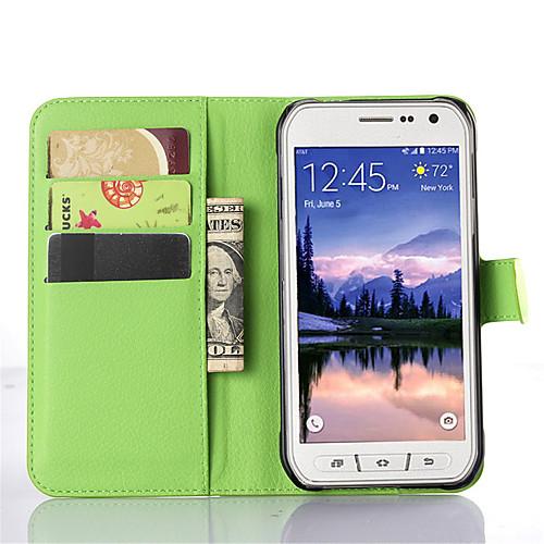 Кейс для Назначение SSamsung Galaxy Кейс для Samsung Galaxy со стендом с окошком Чехол Сплошной цвет Кожа PU для S6 Active S5 Mini S5