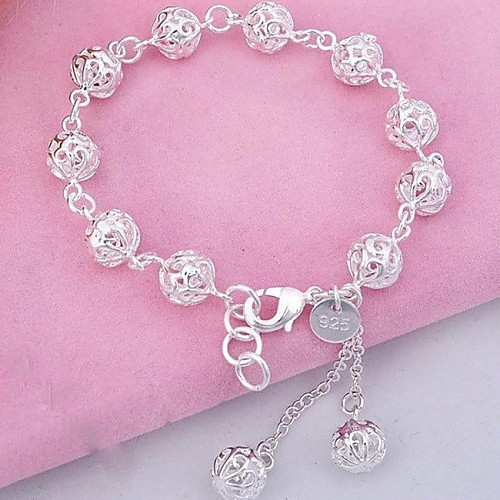 Women's Crystal Tassel Sculpture Charm Bracelet Bead Bracelet Sterling Silver Ball Ladies Fashion Bracelet Jewelry Silver For Party Daily Sports
