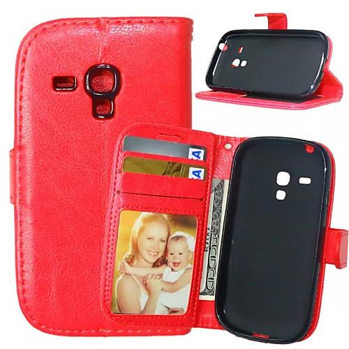 Кейс для Назначение SSamsung Galaxy Кейс для Samsung Galaxy Кошелек / Бумажник для карт / со стендом Чехол Однотонный Кожа PU для S5 Mini / S4 Mini / S4