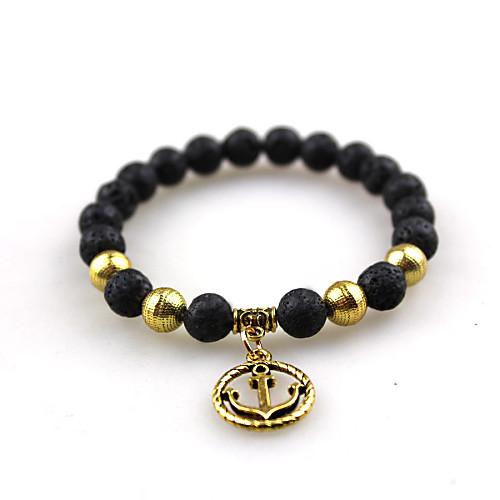 Стильный браслет черный камень из лавы, стильный якорь