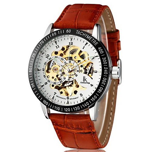 Мужской Наручные часы Механические часы С гравировкой С автоподзаводом PU Группа Люкс Коричневый