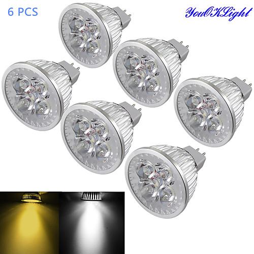 4W GU5.3(MR16) Точечное LED освещение MR16 4 светодиоды Высокомощный LED Диммируемая Декоративная Тёплый белый Холодный белый 320-350lm