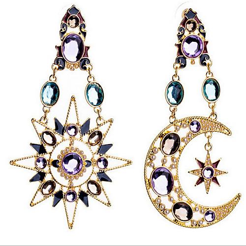 Жен. Синтетический алмаз Серьги-слезки - Цирконий, Позолота, Искусственный бриллиант MOON Роскошь, европейский Цвет экрана Назначение жен бижутерия синтетический алмаз серьги слезки стразы сплав звезда в форме банта синий розовый