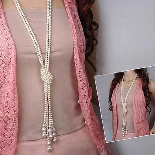 Жен. Жемчуг Искусственный жемчуг Ожерелья с подвесками Жемчужные ожерелья Слоистые ожерелья - Многослойный Мода Белый Ожерелье жен  двухслойные зонты слоистые ожерелья