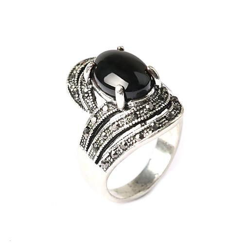 Жен. Резина / Серебрянное покрытие Заявление - Мода Черный / Красный Кольцо Назначение Для вечеринок