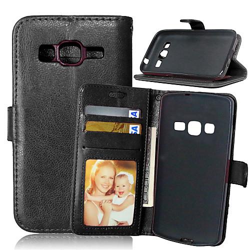 Кейс для Назначение SSamsung Galaxy Кейс для Samsung Galaxy Кошелек / Бумажник для карт / со стендом Чехол Однотонный Кожа PU для Xcover 3 / Grand Neo / Core Prime фото