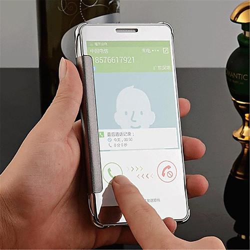 Кейс для Назначение SSamsung Galaxy Кейс для Samsung Galaxy Зеркальная поверхность / Флип / Прозрачный Кейс на заднюю панель Однотонный ПК для A8 / A7 / A5 фото