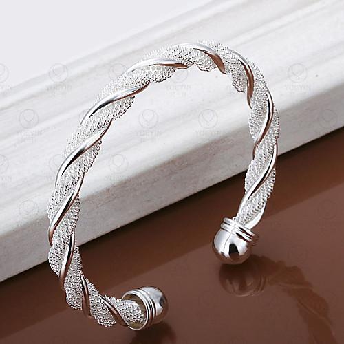 Жен. Серебрянное покрытие Прочее Браслет цельное кольцо Браслет разомкнутое кольцо - Уникальный дизайн Открытые Мода Плетение Крутящийся