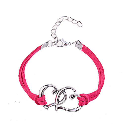 Women's Friendship Bracelet Leather Bracelet Leather Heart Love Ladies Unique Design Fashion Bracelet Jewelry Rose / Red For Party Daily Casual