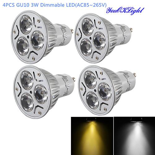 YouOKLight 300 lm GU10 Точечное LED освещение R63 3 светодиоды Высокомощный LED Диммируемая Декоративная Тёплый белый Холодный белый AC