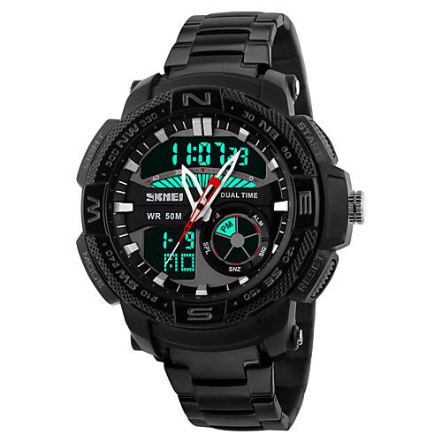 Men's Sport Watch Wrist Watch Quartz Stainless Steel Black / Silver 30 m Water Resistant / Waterproof Alarm Calendar / date / day Analog - Digital Black Silver White / Black Two Years Battery Life