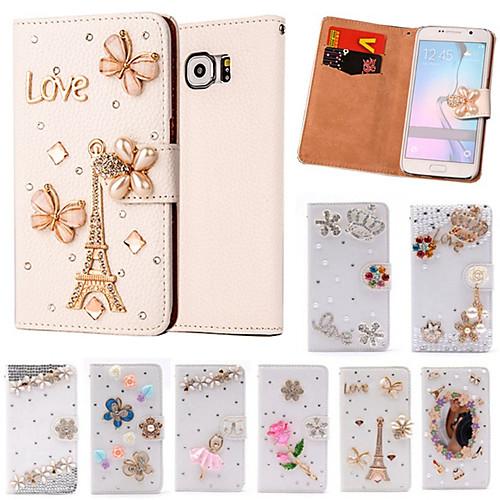Кейс для Назначение SSamsung Galaxy Кейс для Samsung Galaxy Бумажник для карт Стразы Флип Чехол Мультипликация Кожа PU для S6 edge plus чехол для для мобильных телефонов oem sumsung galaxy s5 wood case for sumsung galaxy s5