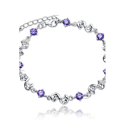 Women's Crystal Amethyst Chain Bracelet Charm Bracelet Sterling Silver Crystal Ladies Simple Style Fashion Bridal Bracelet Jewelry White / Purple For Wedding Party Daily Casual