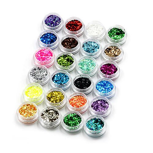 24 pcs Украшения для ногтей / Декоративные наборы / Пайетки Дизайн ногтей Мода Милый Повседневные / пластик