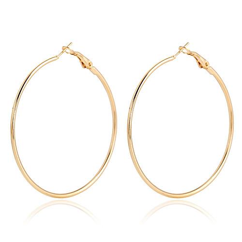 Жен. Кристалл Позолота Золото 18K Серьги-кольца - Массивный Мода европейский Золотой Розовое золото Круглый Серьги Назначение Для
