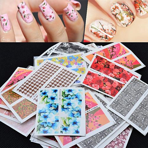 50 pcs 3D наклейки на ногти Наклейка для переноса воды маникюр Маникюр педикюр Цветы / Абстракция / Мода Повседневные / 3D-стикеры для ногтей