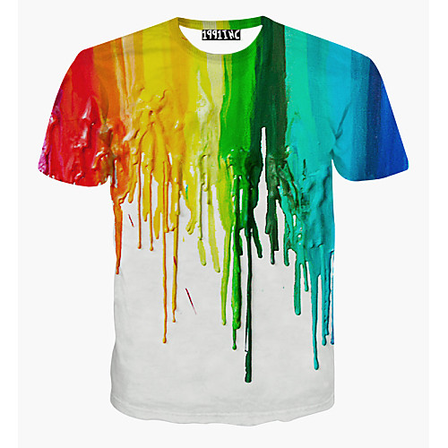 Men's Daily Sports Weekend Active Cotton T-shirt - Rainbow Print Round Neck White L / Short Sleeve / Summer