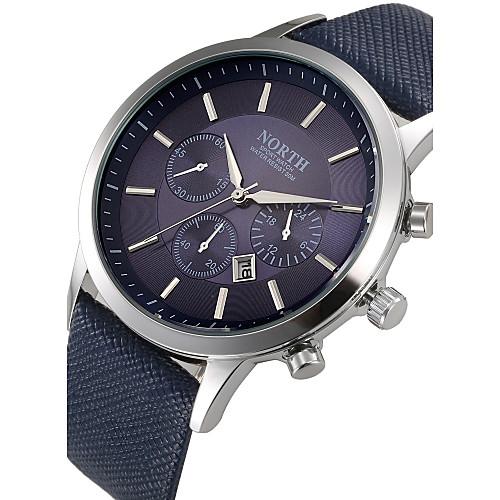 Муж. Наручные часы Кожа Черный / Синий / Коричневый Календарь Cool Аналоговый Черный Коричневый Синий / Нержавеющая сталь