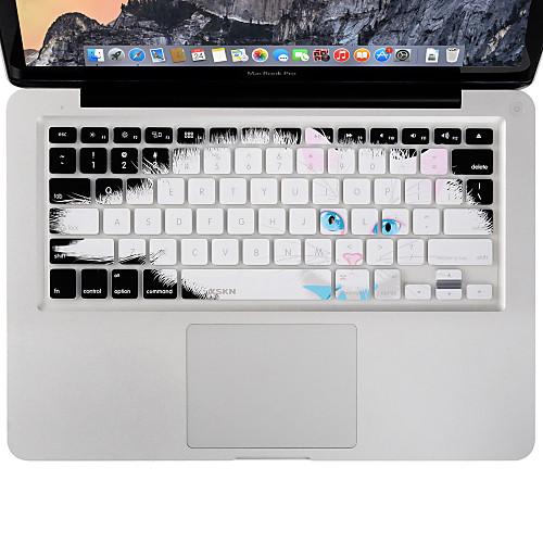 xskn прочный ультратонкий чехол клавиатуры кожи силикона ленивый кот для Macbook Air / Pro 13 15 17 дюймов, раскладка
