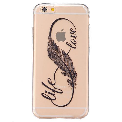 Назначение iPhone 6 iPhone 6 Plus Чехлы панели Прозрачный Задняя крышка Кейс для  Перья Мягкий Термопластик для iPhone 7 Plus iPhone 7