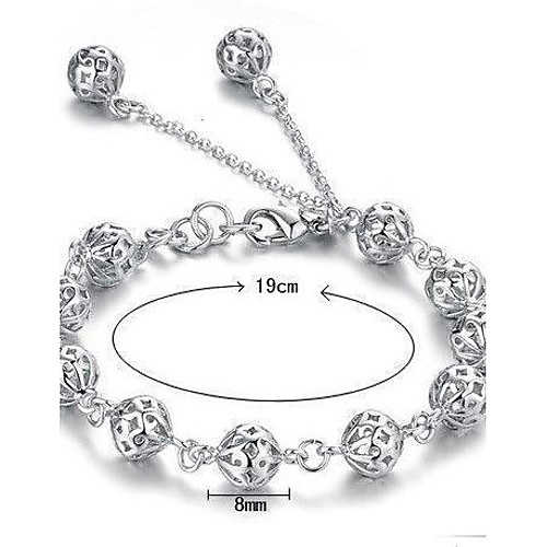Women's Hollow Out Chain Bracelet Charm Bracelet Sterling Silver Ladies Bracelet Jewelry White For Christmas Gifts Wedding Party Daily Casual Masquerade
