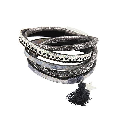 Жен. Кожа Стразы Кожаные браслеты Wrap Браслеты - Серый Браслеты Назначение Новогодние подарки Свадьба Для вечеринок браслеты