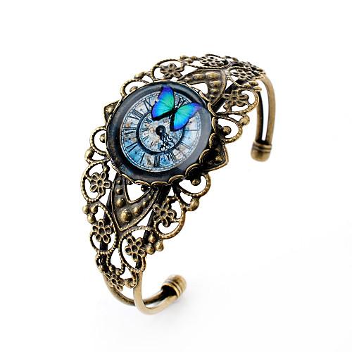 Драгоценный камень Серебрянное покрытие Бабочка Цветы Браслеты с подвесками Браслет цельное кольцо - резной Простой стиль Животный принт