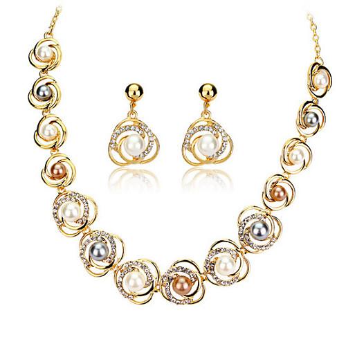 Жемчуг Комплект ювелирных изделий - Розовое золото,  Для вечеринки,  офиса, Мода Включают Белый Назначение  вечеринок / Особые случаи / Годовщина / Серьги / Ожерелья