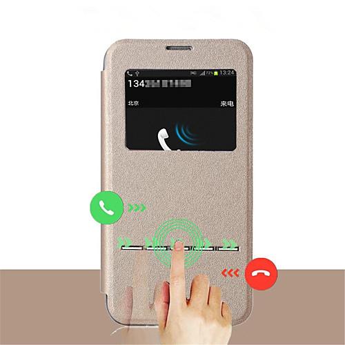 Кейс для Назначение SSamsung Galaxy Samsung Galaxy S7 Edge с окошком / Флип Чехол Однотонный Кожа PU для S8 Plus / S8 / S7 edge фото
