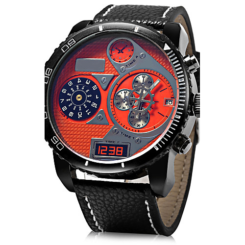 JUBAOLI Men's Military Watch Wrist Watch Quartz Oversized Leather Black / Blue / Red Casual Watch Analog Charm - Yellow Red Blue One Year Battery Life / SSUO LR626