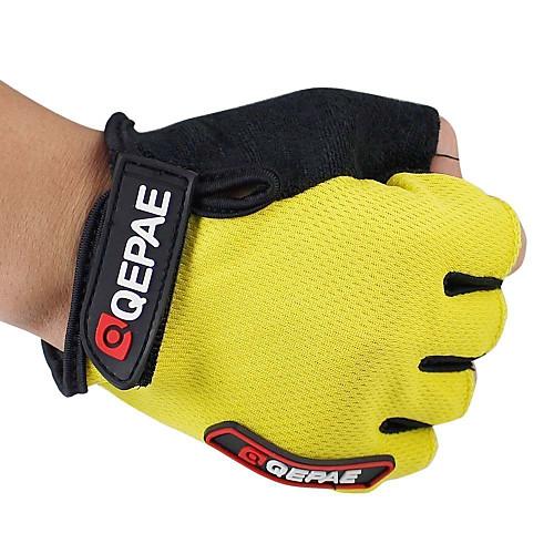 QEPAE Перчатки для велосипедистов Дышащий Противозаносный Впитывает пот и влагу Защитный Полупальцами Спортивные перчатки Кожа Лайкра Горные велосипеды Желтый Красный Синий для Взрослые
