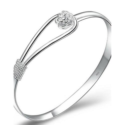 Жен. Браслет цельное кольцо / Браслет разомкнутое кольцо - Серебрянное покрытие Цветы Простой стиль, Элегантный стиль, Свадьба Браслеты
