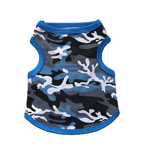 Кошка Собака Футболка Одежда для собак камуфляж Черный Синий Хлопок Костюм Для домашних животных Муж. Жен. Мода кошка собака футболка одежда для собак камуфляж розовый зеленый хлопок костюм для домашних животных муж жен мода