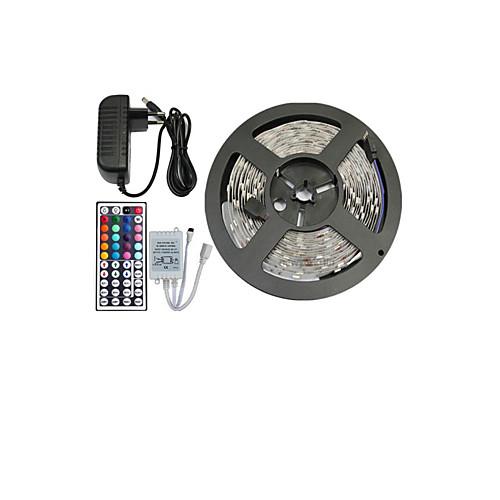 5 метров RGB ленты Наборы ламп Гибкие светодиодные ленты светодиоды RGB Пульт управления Можно резать Диммируемая Меняет цвета