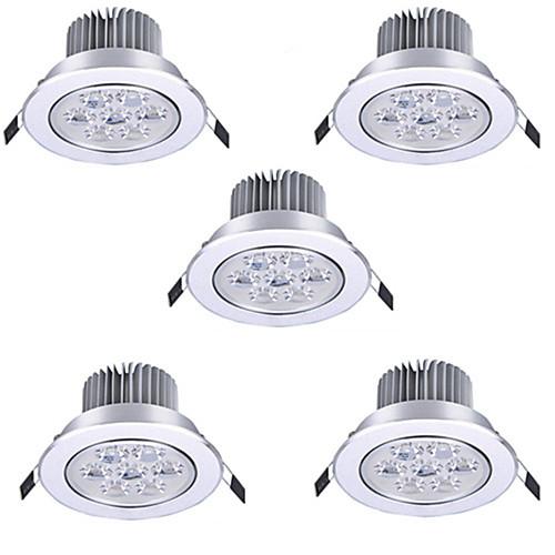 5 шт. 7 W 600 lm Точечное LED освещение / Круглые LED лампы 7 Светодиодные бусины Высокомощный LED Декоративная Тёплый белый / Холодный лампы освещение
