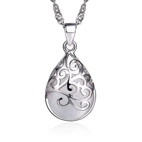 Жен. Стерлинговое серебро Серебристый Ожерелья с подвесками - Мода Бижутерия Белый Розовый Ожерелье Назначение Подарок Повседневные бижутерия 40 лет влксм