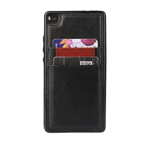 Кейс для Назначение Huawei P8 Huawei P8 Кейс для Huawei Бумажник для карт Кейс на заднюю панель Сплошной цвет Твердый Кожа PU для Huawei чехлы для телефонов skinbox кейс книжка для huawei p8