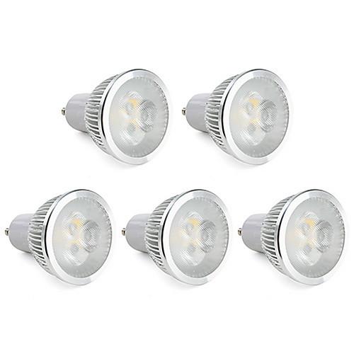 6W GU10 Точечное LED освещение MR16 3 Высокомощный LED 310 lm Тёплый белый Регулируемая AC 220-240 V 5 шт.