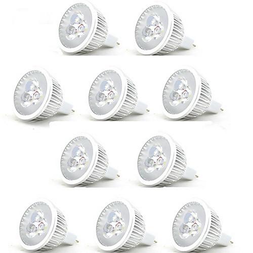 10 шт. 3W 250lm MR16 Точечное LED освещение 3 Светодиодные бусины Высокомощный LED Декоративная Тёплый белый Холодный белый 12V