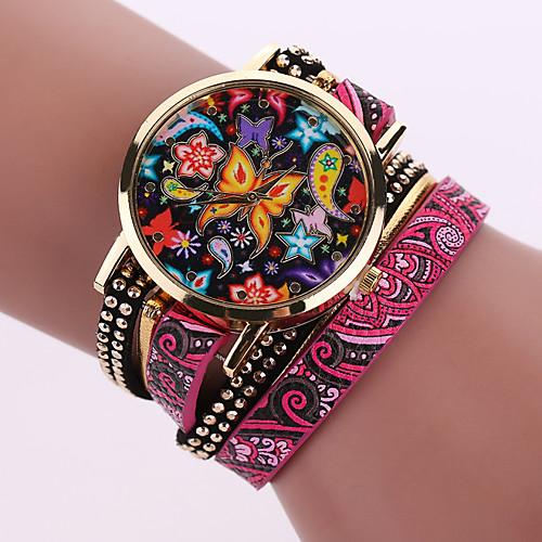 Жен. Кварцевый Наручные часы Повседневные часы Кожа Группа Богемные Мода Черный Белый Синий Серебристый металл Красный Коричневый Зеленый