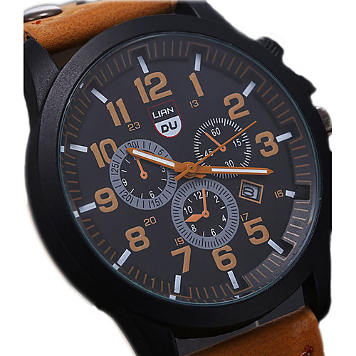 Men's Wrist Watch Aviation Watch field watch Quartz Leather Black / Brown / Green Water Resistant / Waterproof Calendar / date / day Cool Analog Aristo - Coffee Brown Green One Year Battery Life