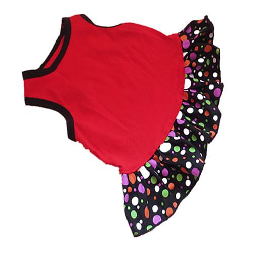 Собака Платья Одежда для собак Горошек С сердцем Черный / Красный Хлопок Костюм Для домашних животных Лето Жен. Мода petmax жилет коричневый с орнаментом s