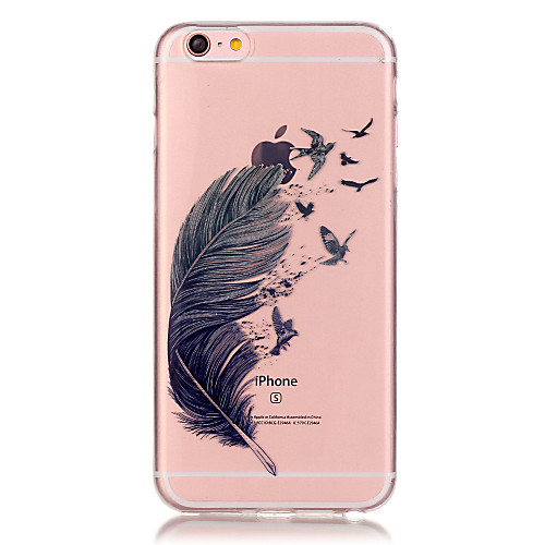 Кейс для Назначение Apple iPhone 6 iPhone 6 Plus Прозрачный Кейс на заднюю панель Перья Мягкий ТПУ для iPhone 6s Plus iPhone 6s iPhone 6 чехол для iphone 6 глянцевый printio сад на улице корто сад на монмартре ренуар