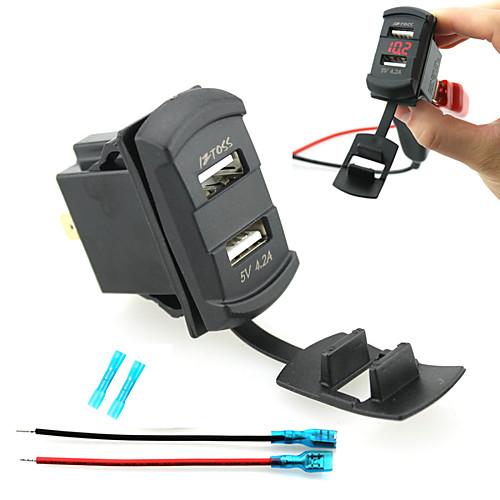 iztoss двойной USB автомобильное зарядное устройство цифровой светодиодный дисплей вольтметр с проводами и изоляцией термоусадочной dc 4 5 30v 0 50a двойной красный светодиодный цифровой вольтметр амперметр напряжение питания amp es9p
