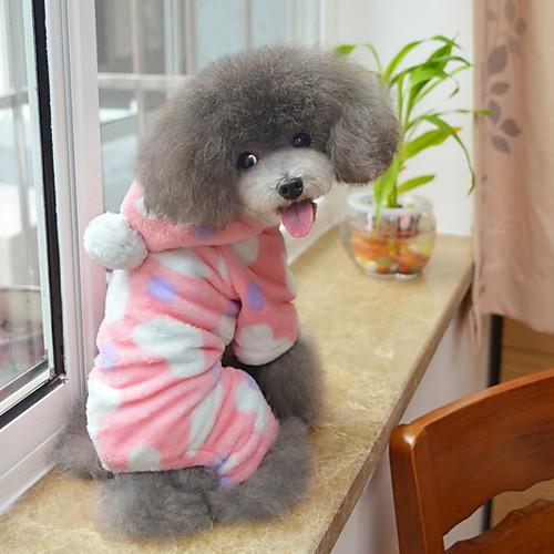Кошка Собака Толстовки Комбинезоны Пижамы Одежда для собак Горошек Черный Розовый Флис Костюм Для домашних животных Муж. Жен. кошка собака толстовка пижамы одежда для собак леопард черный флис костюм для домашних животных муж жен на каждый день