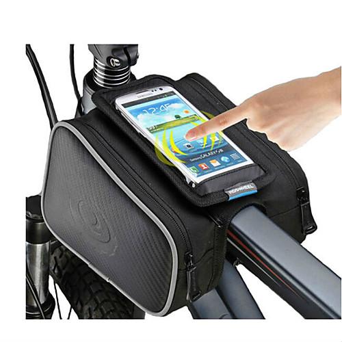 ROSWHEEL Сотовый телефон сумка / Бардачок на раму 5 дюймовый Сенсорный экран Велоспорт для iPhone 8/7/6S/6 Черный / Водонепроницаемая застежка-молния