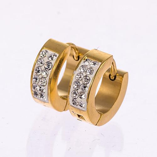 Муж. Розовое золото Стерлинговое серебро Искусственный бриллиант Серьги-гвоздики Серьги-кольца - Черный Серебряный Золотой Серьги
