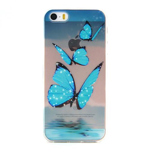 Кейс для Назначение iPhone SE/5s/5 iPhone 5 Apple Кейс для iPhone 5 Ультратонкий Прозрачный С узором Кейс на заднюю панель Бабочка Мягкий