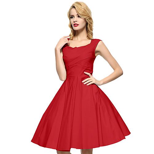 Жен. Большие размеры Винтаж Хлопок А-силуэт Платье - Однотонный Квадратный вырез До колена