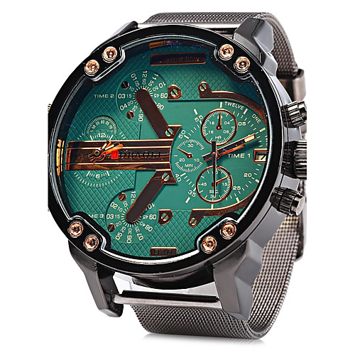Men's Military Watch Quartz Oversized Stainless Steel Silver Calendar / date / day Dual Time Zones Cool Analog Luxury - Yellow Green Blue One Year Battery Life / SSUO LR626
